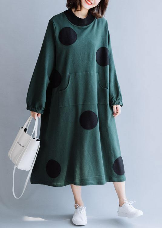 French blackish green cotton dresses patchwork pockets loose fall Dresses