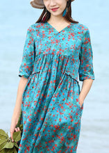 Load image into Gallery viewer, French blue floral linen clothes For Women patchwork long v neck Dresses