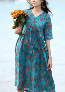 French blue floral linen clothes For Women patchwork long v neck Dresses
