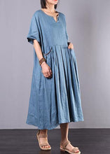 Load image into Gallery viewer, French blue linen clothes For Women big hem A Line summer Dress