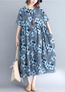 French blue print cotton linen clothes o neck wrinkled Maxi Dresses