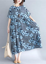 Load image into Gallery viewer, French blue print cotton linen clothes o neck wrinkled Maxi Dresses