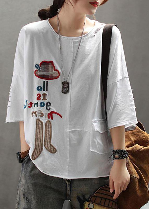 French cotton Embroidery Letter top silhouette 2019 white Summer Drop Shoulder Sleeve T-Shirt
