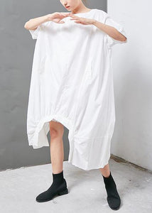 French cotton clothes top quality Irregular Solid Cotton Short Sleeve Dress