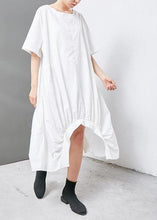 Load image into Gallery viewer, French cotton clothes top quality Irregular Solid Cotton Short Sleeve Dress