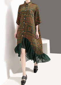 French cotton quilting clothes Drops Design Vintage Plaid Print Chiffon Ruffles Dress