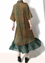 Load image into Gallery viewer, French cotton quilting clothes Drops Design Vintage Plaid Print Chiffon Ruffles Dress