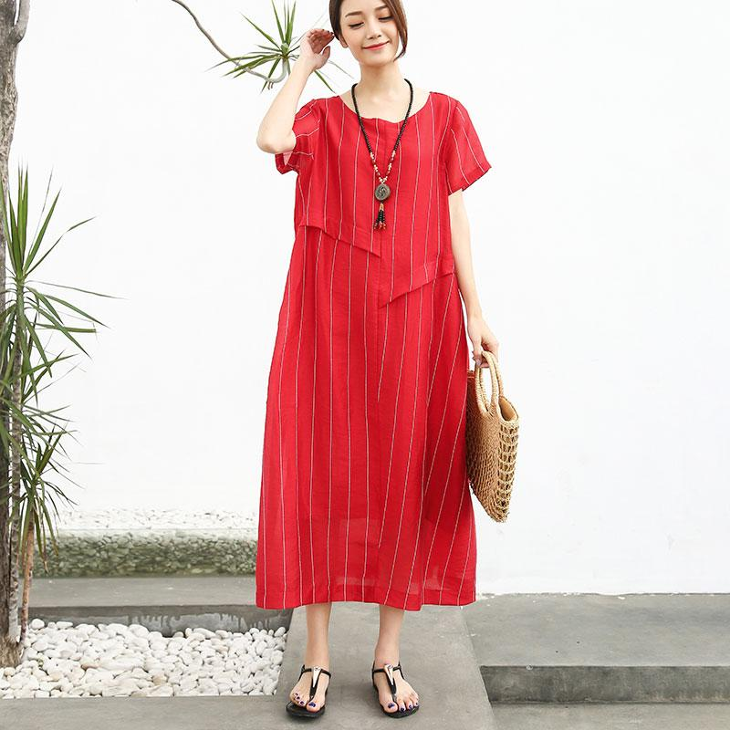 French cotton quilting clothes Fashion Linen Cotton Women Short Sleeve Stripe Red Dress