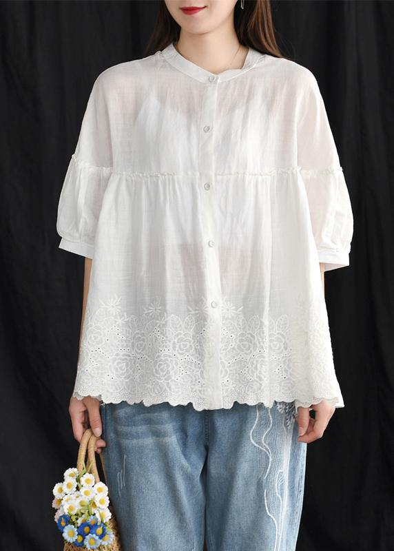 French cotton whhite shirts women boutique Women Summer Vintage Loose Embroidery Shirt