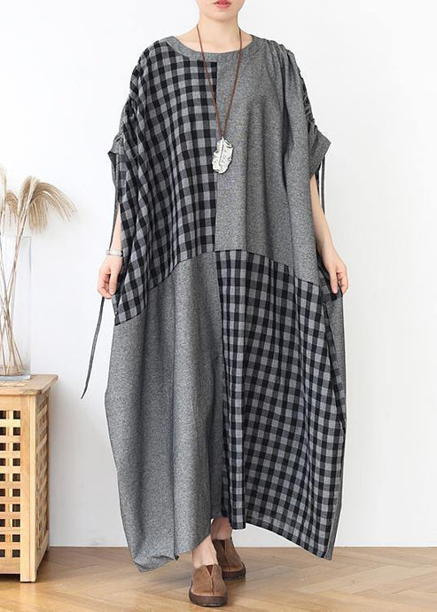 French dark gray plaid clothes For Women o neck patchwork long fall Dress