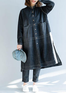 French denim black Fashion Long coats Work Outfits side open fall women coats