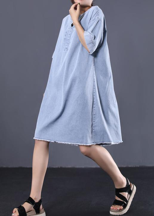 French denim blue Cotton quilting dresses v neck loose summer Dress