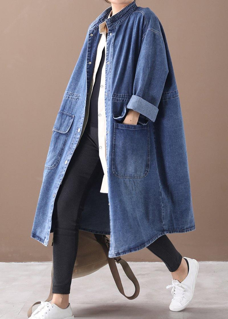 French denim blue Plus Size box coat Shape stand collar drawstring coat