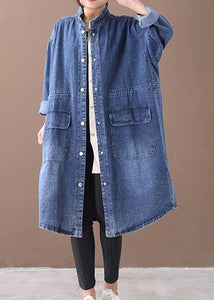 French Denim Blue Plus Size Box Coat Form Stehkragen Kordelzug Mantel