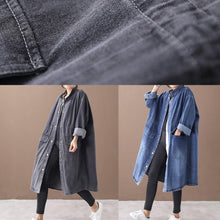 Laden Sie das Bild in den Galerie-Viewer, French Denim Blue Plus Size Box Coat Form Stand Kragen Kordelzug Mantel