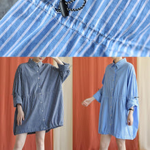 Load image into Gallery viewer, French drawstring Cotton dresses Fabrics dark blue shirt Dress fall