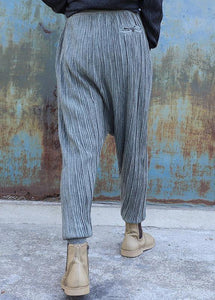 French elastic waist pants oversize gray pattern slim Jeans