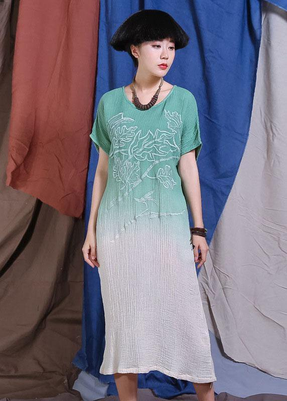 French embroidery cotton linen clothes For Women Wardrobes green gradient color Dress summer