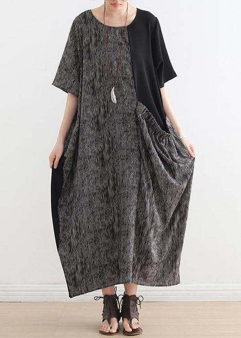 French gray chiffon Robes o neck patchwork Dresses