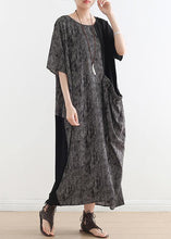 Load image into Gallery viewer, French gray chiffon Robes o neck patchwork Dresses