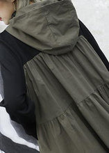 Load image into Gallery viewer, French gray green patchwork cotton Wardrobes hooded Plus Size  fall Dresses
