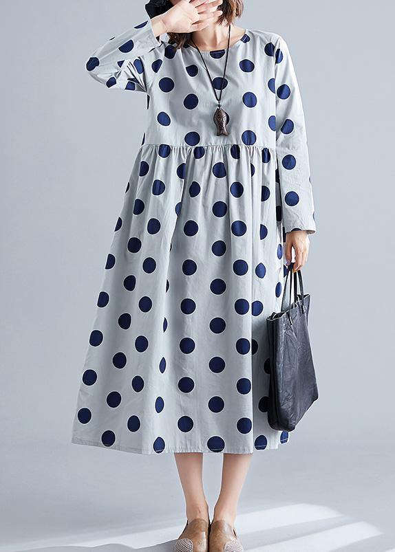 French gray o neck cotton clothes For Women dotted Traveling fall Dress