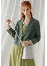 Load image into Gallery viewer, French green cotton crane double breast Vestidos De Lino fall blouses coat