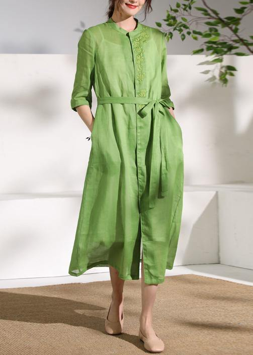 French green embroidery linen Robes stand collar Dress