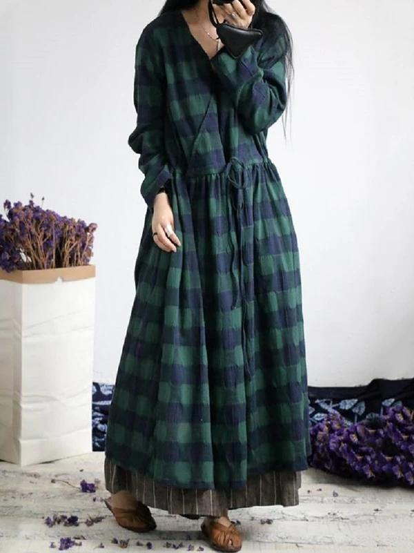 French green plaid cotton dresses v neck drawstring Traveling spring Dresses