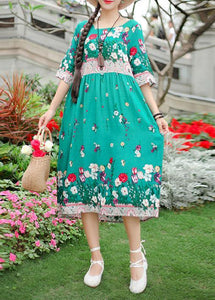 French green print Cotton o neck half sleeve loose summer Dresses