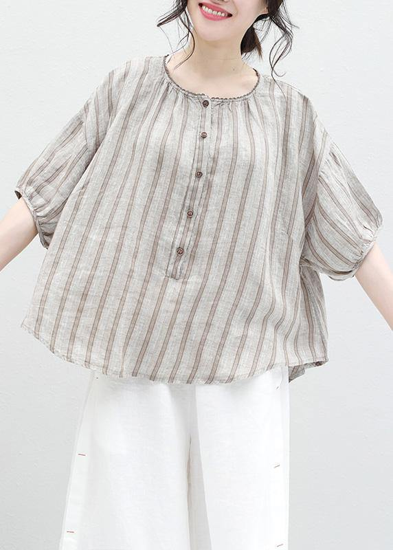 French half sleeve linen Blouse Sewing summer shirt khaki striped