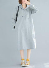 Load image into Gallery viewer, French hooded drawstring Cotton spring Tunics gray Dresses
