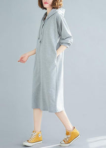French hooded drawstring Cotton spring Tunics gray Dresses