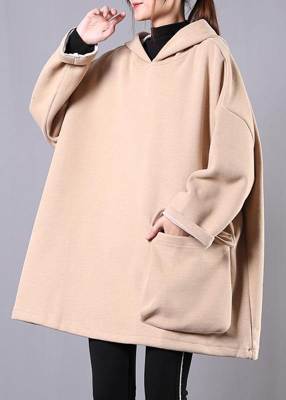 French hooded thick cotton linen tops women khaki shirt