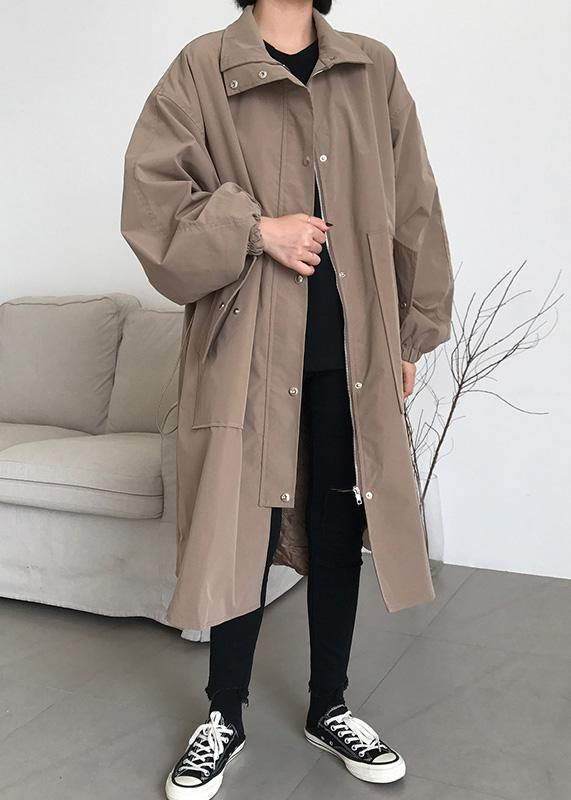 French khaki top quality maxi coat Wardrobes zippered lapel collar women coats