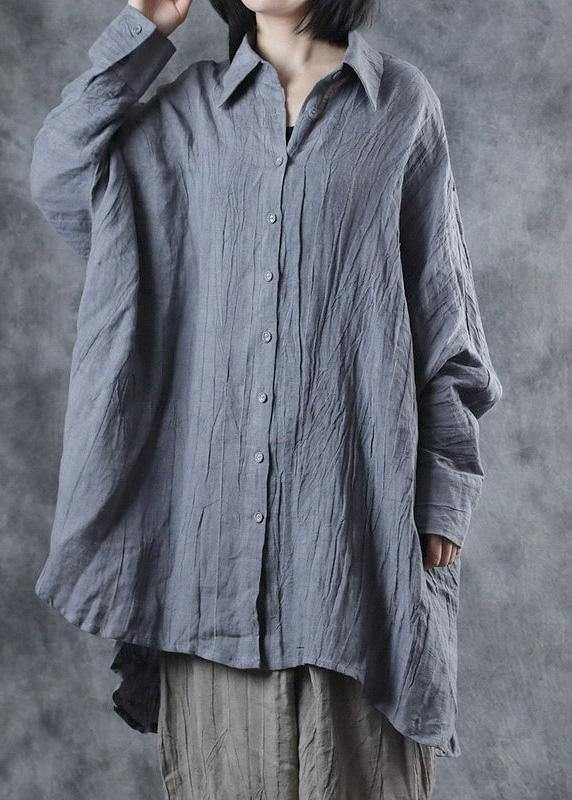 French lapel Batwing Sleeve linen tunic pattern Sewing gray blouse