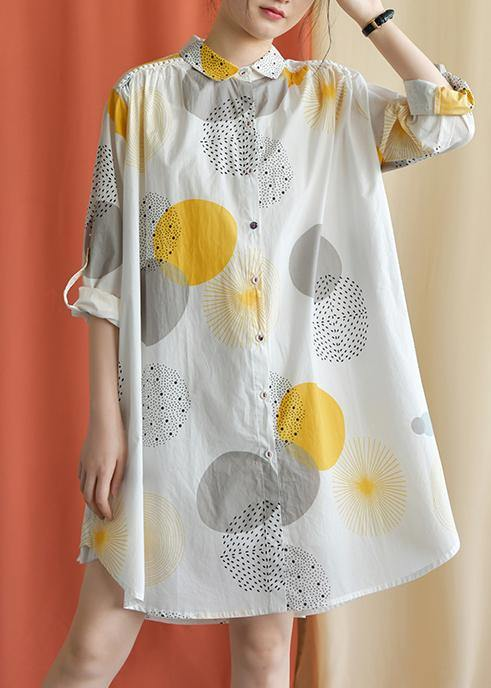 French lapel asymmetric Cotton clothes Catwalk yellow dotted Dress fall