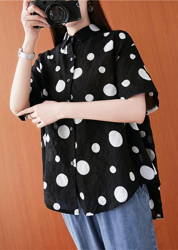 French lapel asymmetric linen cotton tunic top black dotted daily blouses