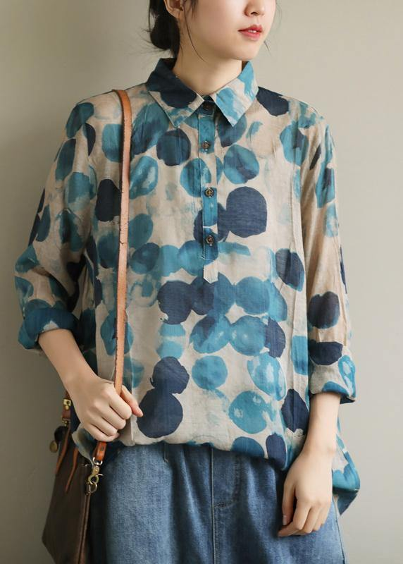 French lapel fall Tunic Wardrobes blue dotted blouses