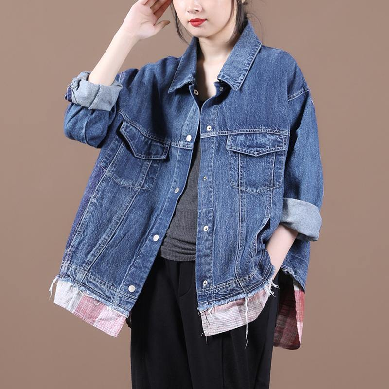 French lapel patchwork Fine fall clothes For Women denim blue Vestidos De Lino women coats