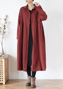 French lapel wrinkled top quality trench coat red Plus Size Clothing outwear