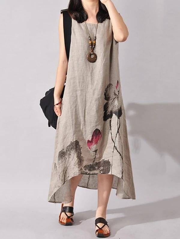French light gray print cotton linen Soft Surroundings o neck sleeveless Dresses