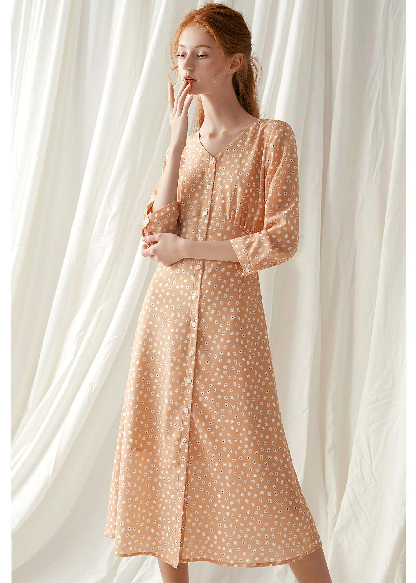 French light orange floral blended outfit tie waist Traveling fall Dresses