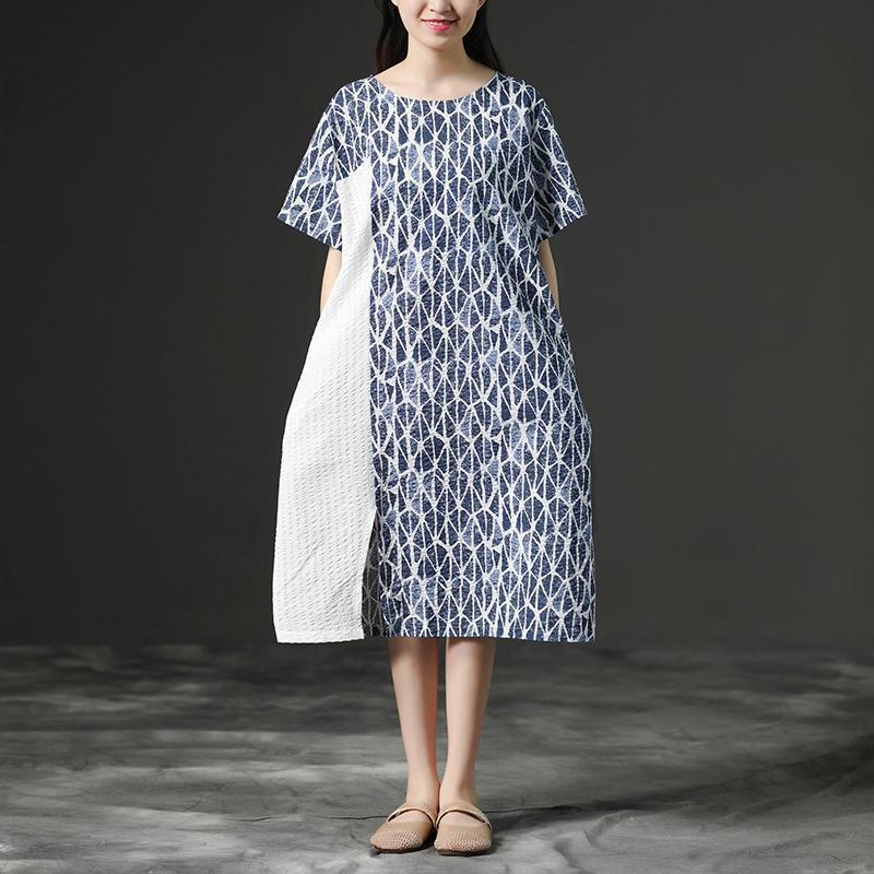 French linen Wardrobes Fashion Linen Blue Round Neck Loose Commuter Dress
