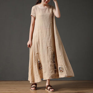 French linen clothes For Women Vintage Short Sleeve Beige Loose Women Round Neck Linen Dress