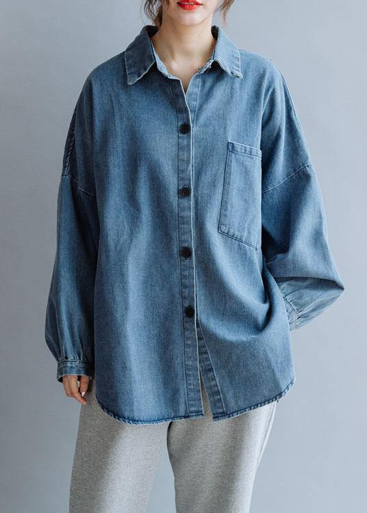 French low high design cotton shirts women pattern denim blue blouse fall
