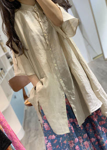 French nude stand collar linen clothes For Women low high design shirt Dress