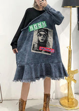 Load image into Gallery viewer, French o neck Ruffles Cotton tunic dress denim blue patchwork black Dress