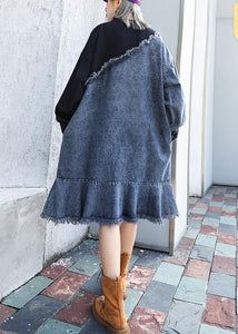French o neck Ruffles Cotton tunic dress denim blue patchwork black Dress
