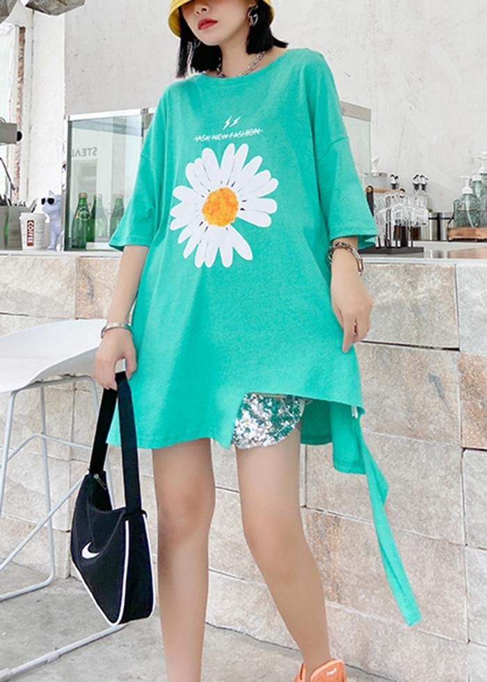 French o neck asymmetric cotton blouses for women green daisy blouses